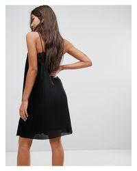 Y.A.S Black Plisse Cami Mini Dress With Lace Trim