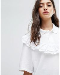 Reclaimed (vintage) White Inspired Polo With Broderie Trims & Frills