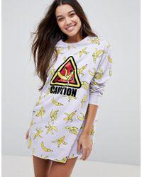 ASOS Multicolor Asos Lounge Banana Caution Sweat Dress