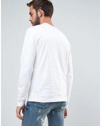 Original Penguin - Long Sleeve Top Small Logo Slim Fit In White for Men - Lyst