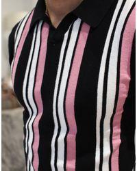 Topman Black Knitted Revere Polo for men