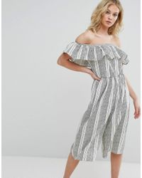 Missguided - White Striped Bardot Frill Detail Jumpsuit - Lyst