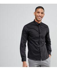 Noak Black Skinny Shirt With Concealed Placket for men