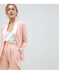 Blazer in raso con dettagli a contrasto di ASOS in Pink