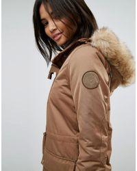 Esprit - Natural Faux Fur Hood Parka Jacket - Lyst