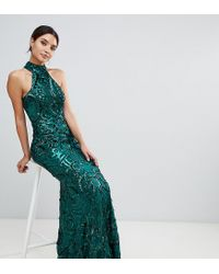 Bariano Green Embellished Maxi Dress With High Neck