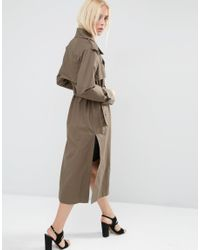 ASOS - Green Pea Coat In Oversized Fit - Lyst