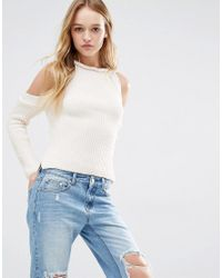 Daisy Street | Natural Halter Neck Knit Rib Sweater With Cold Shoulder | Lyst