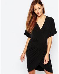 ASOS | Black Wrap Dress In Crepe | Lyst