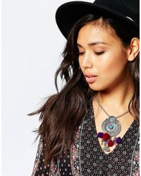 ASOS - Metallic Festival Pom Pendant Necklace - Lyst