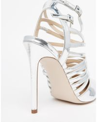 ASOS - Metallic Power Caged Pointed Heels - Lyst
