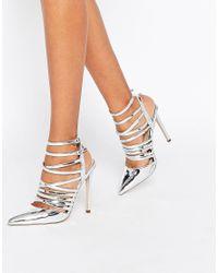 ASOS - Metallic Power Caged Pointed Heels - Lyst