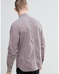 Fred Perry Gray Shirt In Slim Fit Gingham Mahogany for men
