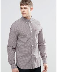 Fred Perry | Red Shirt In Slim Fit Gingham Mahogany for Men | Lyst