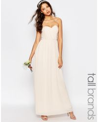 TFNC London Natural Wedding Bandeau Chiffon Maxi Dress