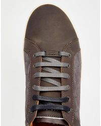 Ted Baker - Gray Borgeo Nubuck Leather Croc Trainers for Men - Lyst