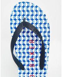 Ted Baker - Black Geo Flyxx Print Flip Flops for Men - Lyst