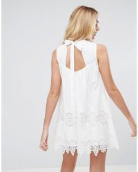 a79709c932ae ASOS Premium Ladder And Lace Swing Dress in White - Lyst