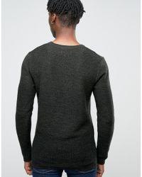 Jack & Jones - Black Crew Neck Knitted Jumper In Yarn Dye for Men - Lyst