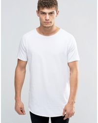 Jack & Jones Black Super Longline T-shirt With Raw Edge for men