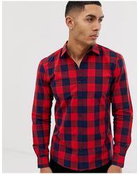 Pull&Bear Red Check Shirt for men