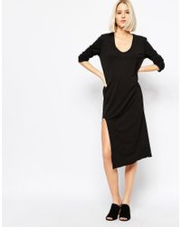 Weekday Black Dress With Front Slit Detail