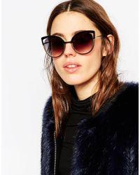 ASOS Black Metal Cat Eye Sunglasses With Colour Block Frame And Cut Away Lens