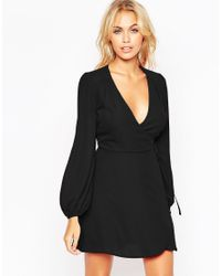 ASOS | Black Mini Wrap Dress With Blouson Sleeve | Lyst