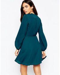 ASOS Blue Mini Wrap Dress With Blouson Sleeve
