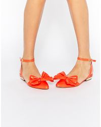 ASOS - Orange Lava Pointed Ballet Flats - Lyst