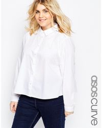 ASOS Trapeze Shirt With Lace Insert - White