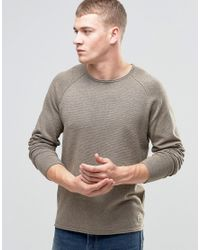 Jack & Jones | Natural Vintage Raw Edge Crew Neck Knitted Sweater for Men | Lyst