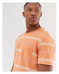 Camiseta naranja con estampado azteca Originals Jack & Jones de hombre de color Orange
