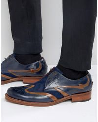Jeffery West Blue Corleone Leather Suede Derby Brogues for men