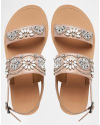 ASOS - Natural Fi Embellished Leather Flat Sandals - Lyst