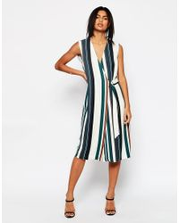 ASOS Blue Soft Wrap Dress In Stripe With D-ring