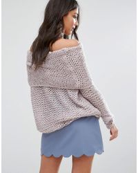 Lavand Pink Bardot Chunky Knit Jumper