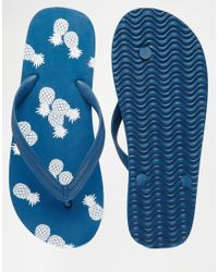 ASOS Blue Flip Flops In Navy With Pineapple Print
