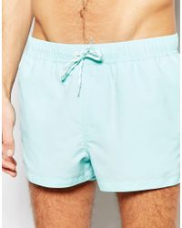 ASOS - Swim Shorts In Pastel Blue Super Short Length for Men - Lyst
