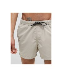 ASOS - Gray Swim Shorts In Stone Short Length for Men - Lyst