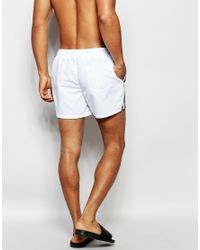 ASOS Multicolor Swim Shorts In White With Side Stripe In Short Length for men