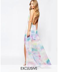 Fame & Partners   Blue Valentina Dream Maxi Dress With Cut Out Back In Watercolour Print   Lyst