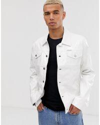 Chaqueta estilo camionero de vinilo Calvin Klein de hombre de color White
