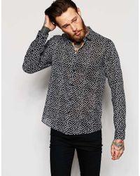 ASOS Sheer Shirt In Leaf Print In Regular Fit - Black for men