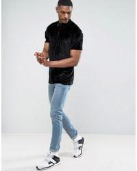 ASOS - Black Tall Longline Polo In Embossed Floral Velvet for Men - Lyst