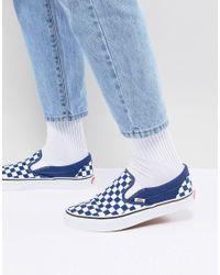 Chaussures enfiler motif damier Vans pour homme en coloris Bleu - Lyst