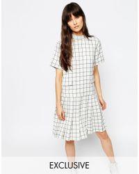 ASOS - Black Le Kilt For Funnel Neck Short Sleeve Pleat Dress - Lyst