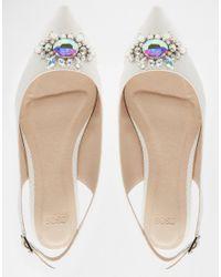 ASOS - Green Live It Up Embellished Wide Fit Ballet Flats - White - Lyst