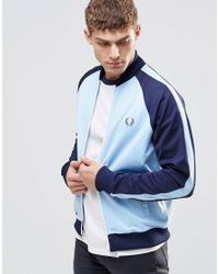 Fred Perry Track Jacket With Colour Block In Blue - Sky Blue for men