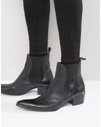 Jeffery West Black Sylvian Buckle Stacked Heel Boots
